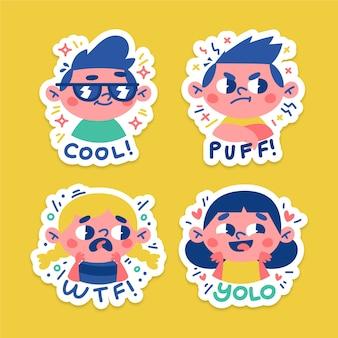 Hand getrokken grappige stickers met gezichten pack