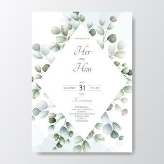 Hand getrokken groene bladeren bruiloft uitnodigingskaart