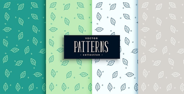 Hand getrokken groene bladeren patroon set