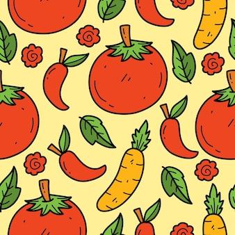 Hand getrokken groente doodle cartoon illustratie patroon ontwerp