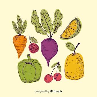 Hand getrokken groenten en fruit achtergrond