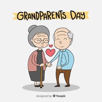 Hand getrokken grootouder dag samenstelling