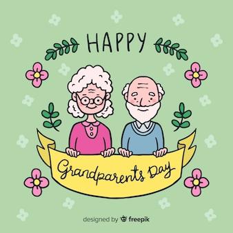 Hand getrokken grootouders dag achtergrond