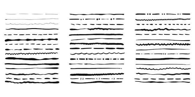 Hand getrokken grunge borstels. set artistieke penborstels geïsoleerd op een witte achtergrond. vector illustratie.