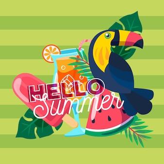 Hand getrokken hallo zomer met toekan en cocktail