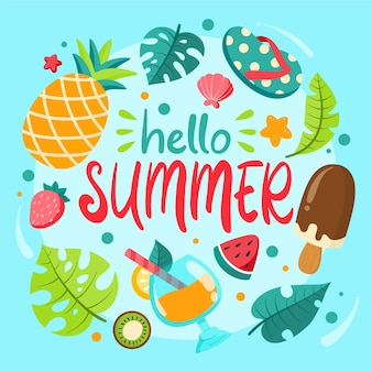 Hand getrokken hallo zomerelementen