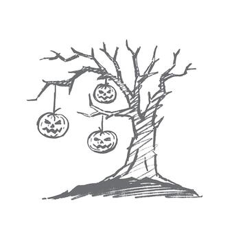 Hand getrokken halloween concept schets