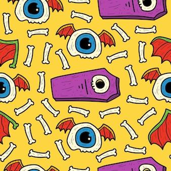 Hand getrokken halloween doodle cartoon naadloos patroon ontwerp