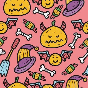 Hand getrokken halloween doodle patroon ontwerp illustratie