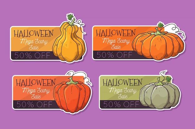 Hand getrokken halloween-etiketten met pompoenen.