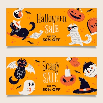 Hand getrokken halloween horizontale verkoop banners set