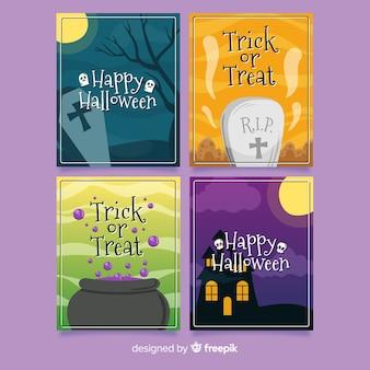 Hand getrokken halloween kaartenset