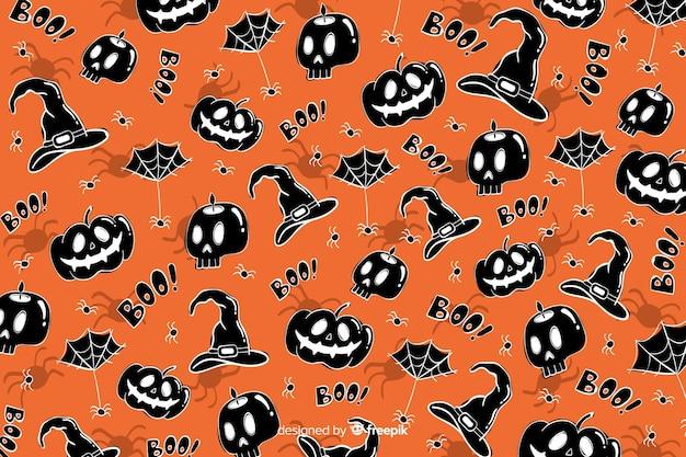 Hand getrokken halloween-naadloos patroon als achtergrond