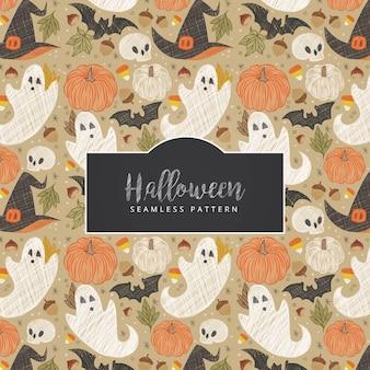 Hand getrokken halloween naadloze patroon