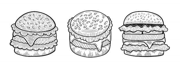 Hand getrokken hamburger