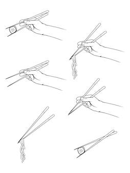 Hand getrokken handen met stokjes met sushi, noedels. line art stijl