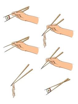 Hand getrokken handen met stokjes met sushi, noedels.