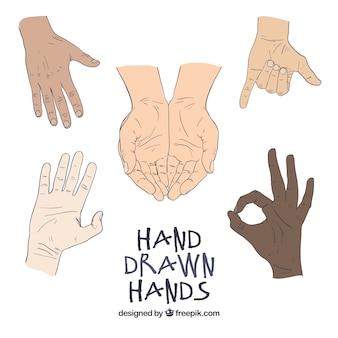 Hand getrokken handen