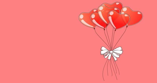 Hand getrokken hart ballonnen op roze