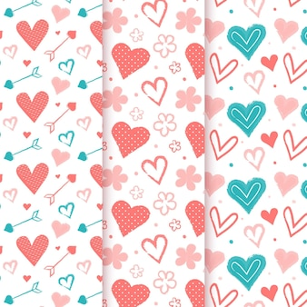 Hand getrokken hart patroon collectie