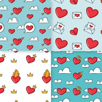 Hand getrokken hart patroon set