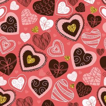 Hand getrokken harten naadloos patroon, roze achtergrond