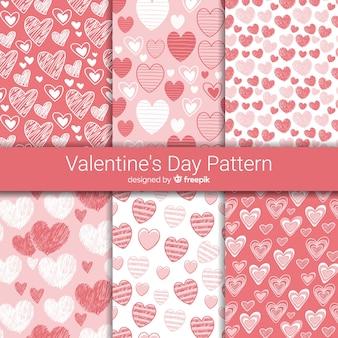 Hand getrokken harten valentijnsdag patroon collectie