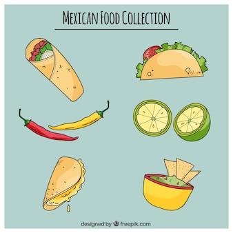 Hand getrokken heerlijk mexicaans eten