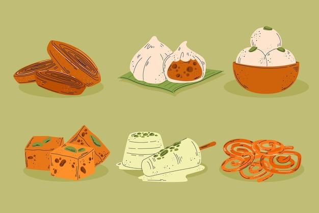 Hand getrokken heerlijke indiase snoepjes