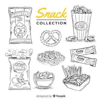 Hand getrokken heerlijke snack collectie