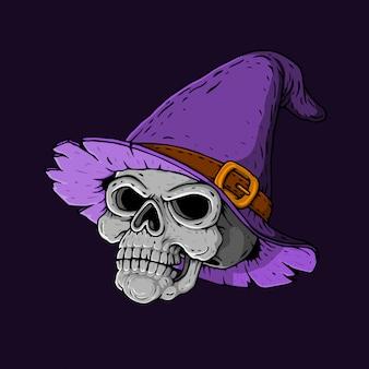 Hand getrokken heksen schedel hoofd