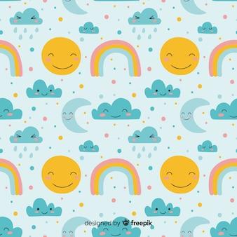 Hand getrokken hemel doodle patroon