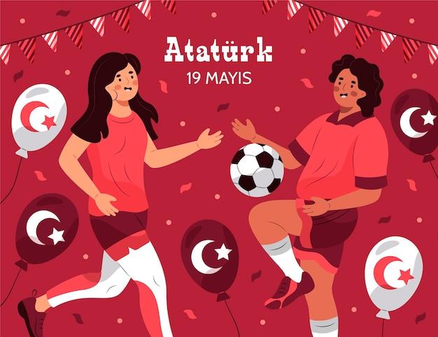 Hand getrokken herdenking van ataturk, jeugd en sportdag illustratie Gratis Vector