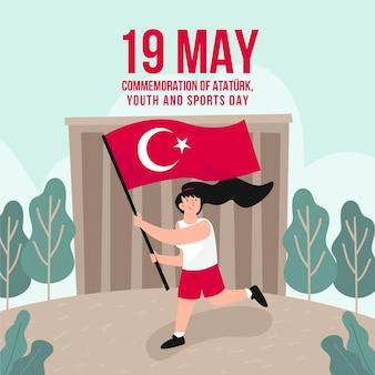 Hand getrokken herdenking van ataturk, jeugd en sportdag illustratie