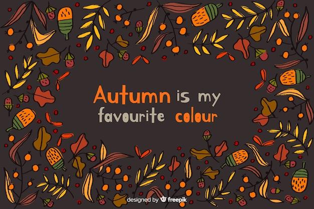Hand getrokken herfst achtergrond met bladeren