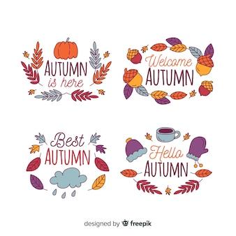 Hand getrokken herfst badge collectie