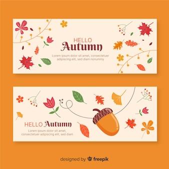 Hand getrokken herfst banner collectie