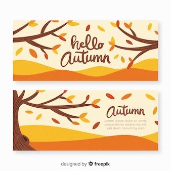 Hand getrokken herfst banners sjabloon