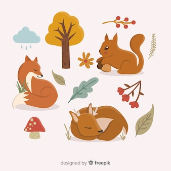 Hand getrokken herfst bos dieren