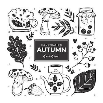 Hand getrokken herfst doodle kleurloze illustraties s