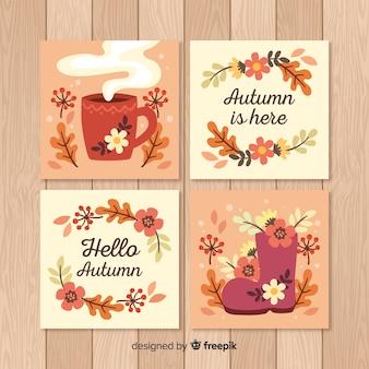 Hand getrokken herfst kaarten collectie
