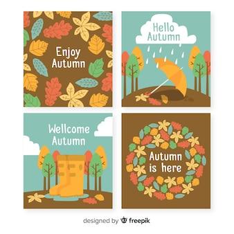 Hand getrokken herfst kaartsjabloon collectie
