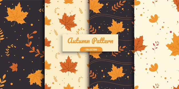 Hand getrokken herfst naadloze patroon collectie