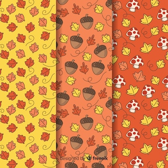 Hand getrokken herfst patroon collectie