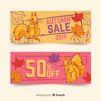 Hand getrokken herfst verkoop banner
