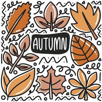 Hand getrokken herfstblad doodle set met pictogrammen en ontwerpelementen