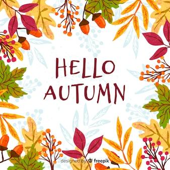 Hand getrokken herfstbladeren achtergrond