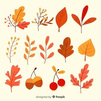 Hand getrokken herfstbladeren collectie
