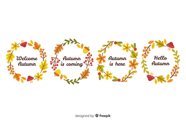 Hand getrokken herfstbladeren krans collectie