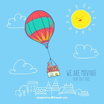 Hand getrokken hete luchtballon met een huis